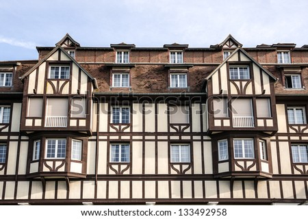 Timber frame building in Deauville, France - stock photo