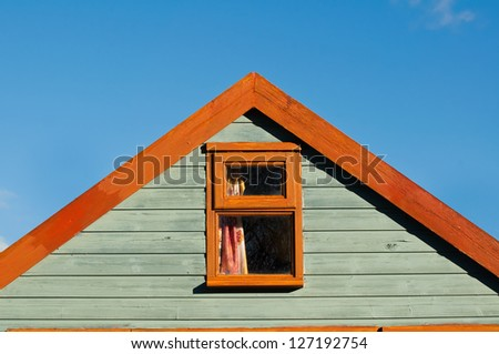 timber frame gable on the coast - stock photo