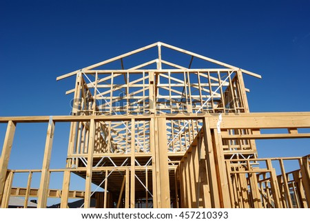 Timber frame of house under construction