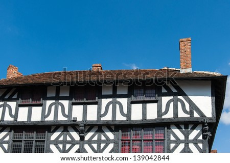 Timber framed house facade in Stratford, England.