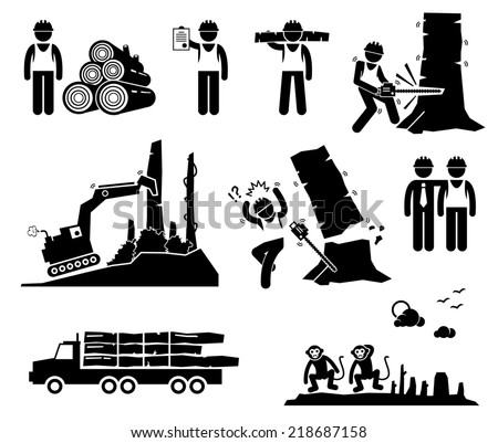 Timber Logging Worker Deforestation Stick Figure Pictogram Icons - stock photo