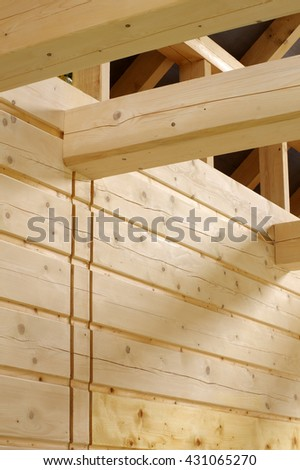 timbered house interior - stock photo