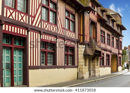 timbered Houses at Pont l`Eveque, Normandy, France - stock photo