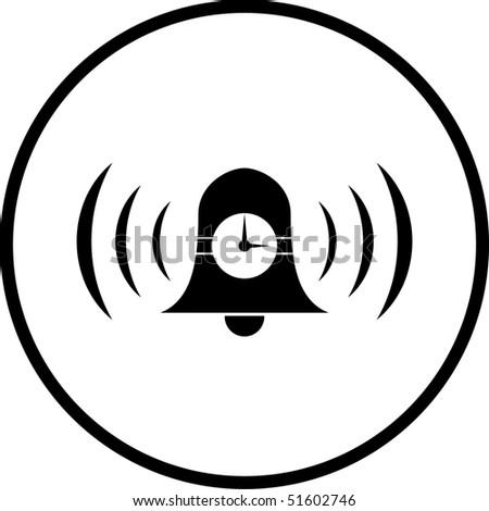 time alarm bell symbol - stock photo