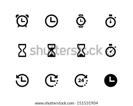 Time and Clock icons on white background. See also vector version. - stock photo