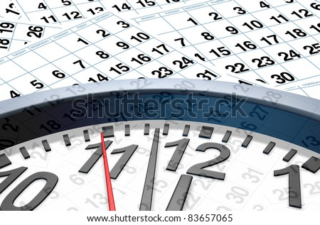 Time and date with calendar pages representing important dates in a month or days of the week represented by individual pages with numbers.