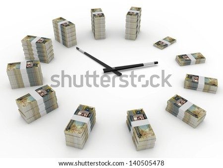 Time and money, 3D bahrain money shaped as clock isolated on white background - stock photo