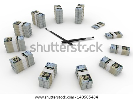 Time and money, 3D kingdom of saudi arabia money shaped as clock isolated on white background - stock photo