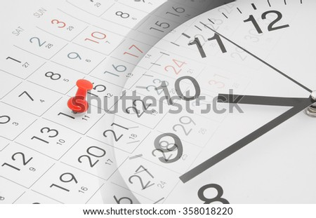 Time and planning concept, collage with clock and calendar page with push pin - stock photo