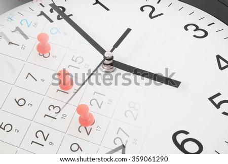 Time and planning concept, collage with clock and calendar page with push pins