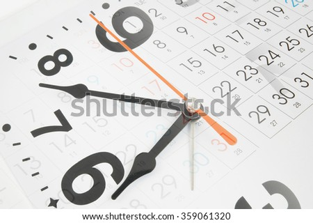 Time and planning concept, collage with clock and new calendar page - stock photo