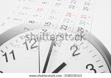 Time and planning concept, collage with round clock and new calendar page