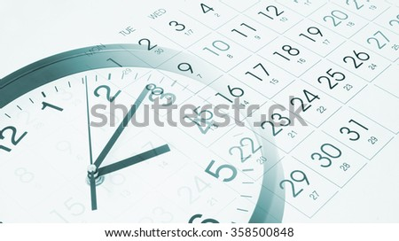 Time and planning concept, collage with round clock and new calendar page - stock photo