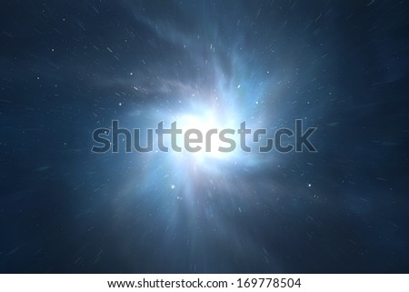 Time and space warp traveling - stock photo