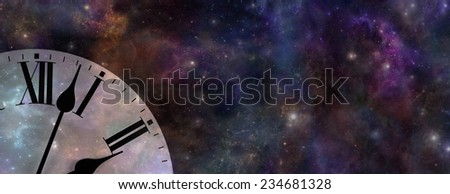 Time and Space Website Banner  -  Wide background of deep space with a clock face in left bottom corner depicting time and space - stock photo