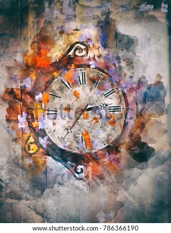 Time, art acrylic painting on paper and mixed media, abstract background