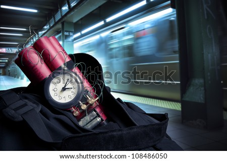 time bomb in a backpack representing terrorist attack - stock photo
