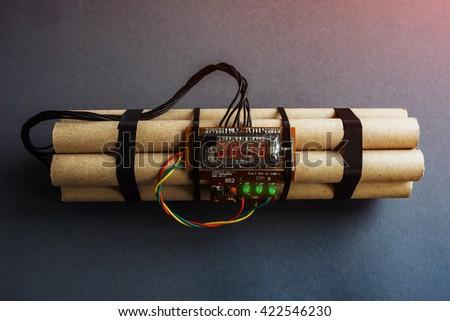 time bomb representing terrorist attack - stock photo