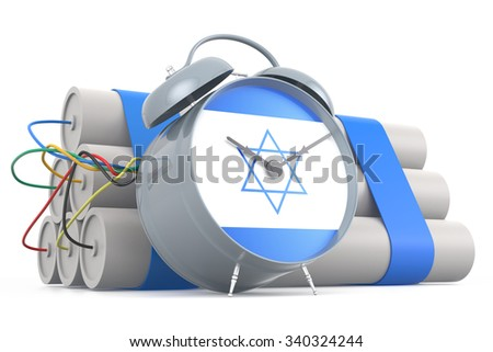 Time Bomb with Israeli Flag. 3D Rendering - stock photo