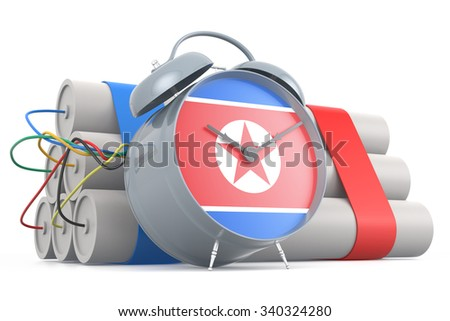 Time Bomb with North Korean Flag. 3D Rendering - stock photo