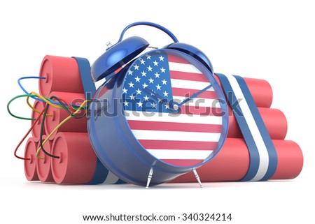 Time Bomb with USA Flag. 3D Rendering - stock photo