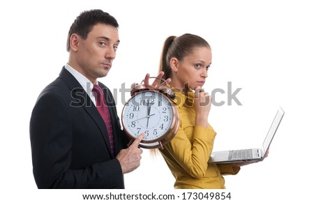 Time. business couple isolated on white