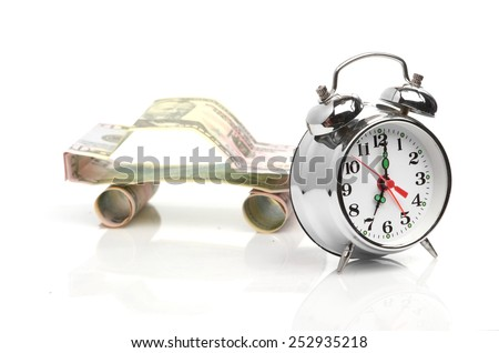 time buy car concept (car made from dollar - stock photo