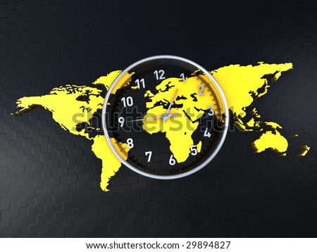 time clock in the middle of a world map