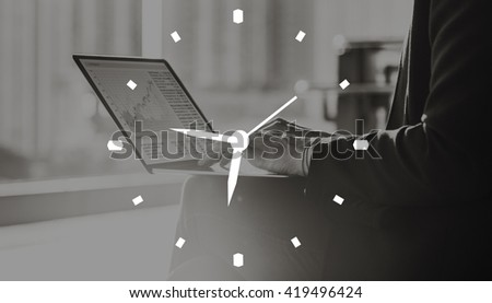 Time Clock Organization Management Accuracy Efficiency Concept - stock photo