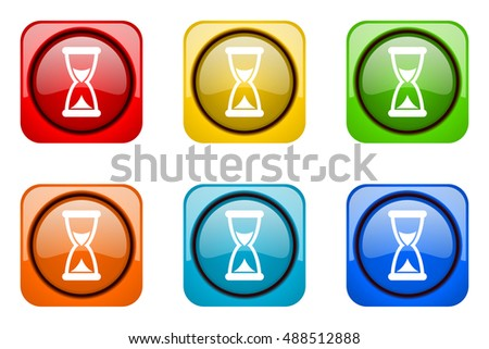 time colorful web icons