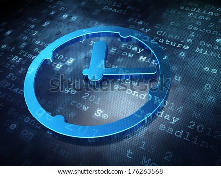 Time concept: Blue Clock on digital background, 3d render - stock photo
