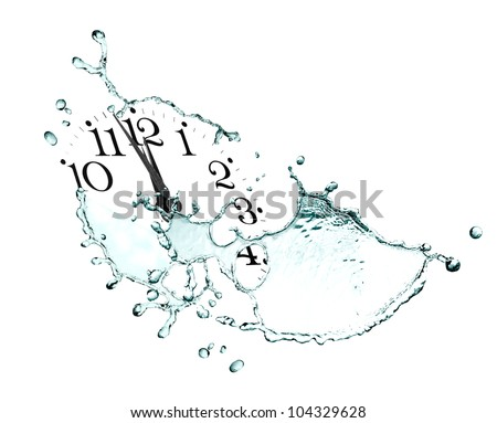Time concept. Clock face and abstract flowing water on white background - stock photo