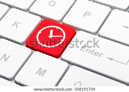 Time concept: Clock on computer keyboard background - stock photo