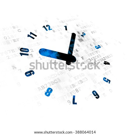 Time concept: Clock on Digital background - stock photo