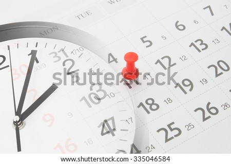 Time concept, collage with clock and calendar page with push pin - stock photo