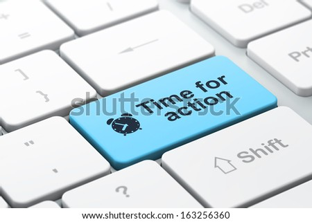 Time concept: computer keyboard with Alarm Clock icon and word Time for Action, selected focus on enter button, 3d render - stock photo