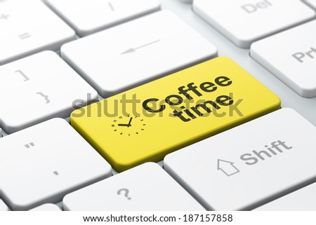 Time concept: computer keyboard with Clock icon and word Coffee Time, selected focus on enter button, 3d render - stock photo
