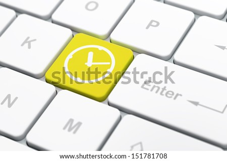 Time concept: computer keyboard with Clock icon on enter button background, selected focus, 3d render - stock photo