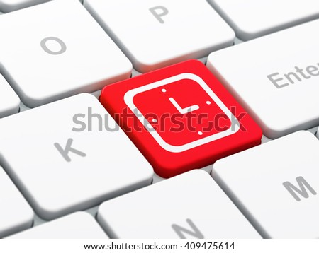 Time concept: computer keyboard with Watch icon on enter button background, selected focus, 3D rendering