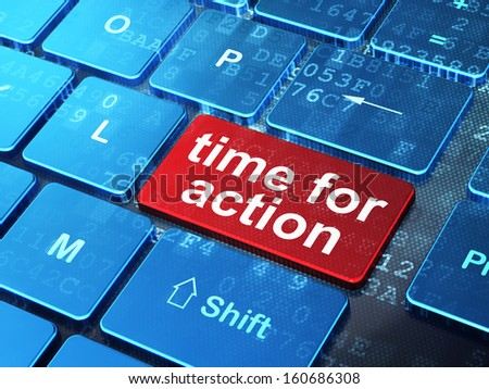 Time concept: computer keyboard with word Time for Action on enter button background, 3d render - stock photo