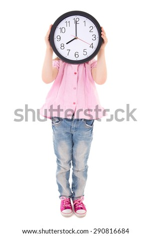 time concept - cute little girl covering her face with office clock isolated on white background - stock photo