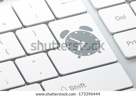 Time concept: Enter button with Alarm Clock on computer keyboard background, 3d render - stock photo
