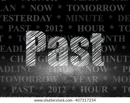 Time concept: Glowing text Past in grunge dark room with Dirty Floor, black background with  Tag Cloud - stock photo