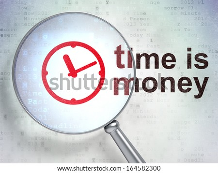 Time concept: magnifying optical glass with Clock icon and Time is Money word on digital background, 3d render - stock photo