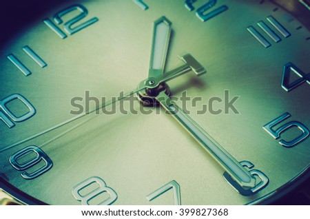 time concept of clock with moving hour hand - stock photo