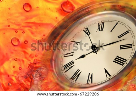 Time Concept - old clock in water - stock photo