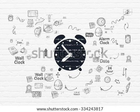 Time concept: Painted black Alarm Clock icon on White Brick wall background with Scheme Of Hand Drawing Time Icons