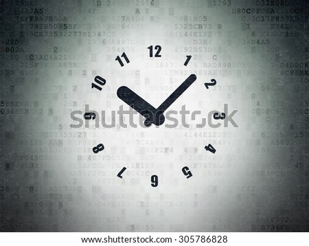 Time concept: Painted black Clock icon on Digital Paper background, 3d render - stock photo