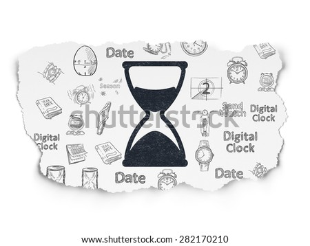 Time concept: Painted black Hourglass icon on Torn Paper background with  Hand Drawing Time Icons, 3d render - stock photo