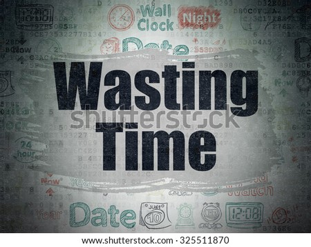 Time concept: Painted black text Wasting Time on Digital Paper background with   Hand Drawing Time Icons - stock photo